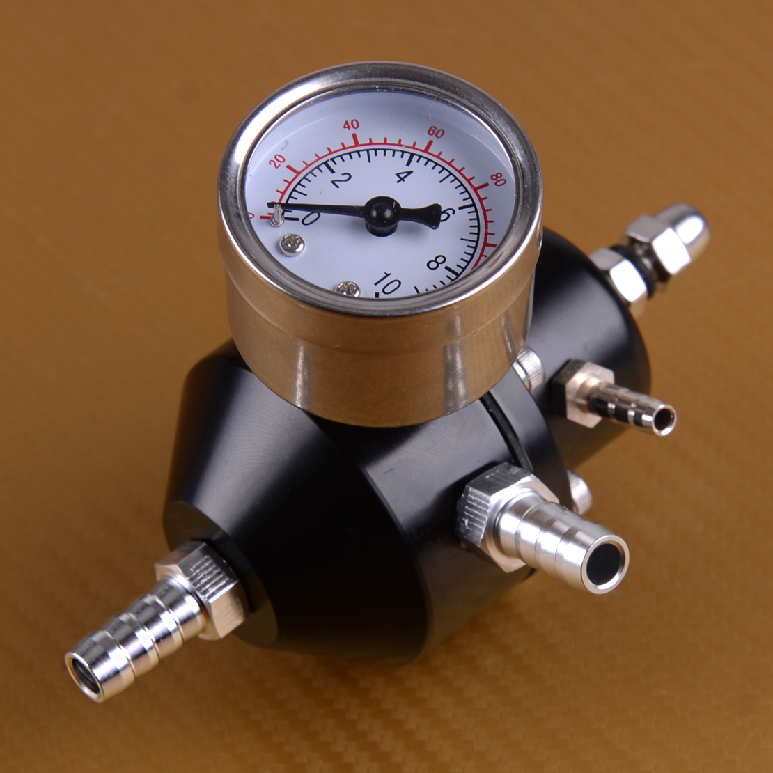 AN8 High Pressure Fuel Regulator Billet Aluminum Adjustable Fuel Pressure Regulator 30-75 PSI wiht Gauge Fuel Pressure Regulator