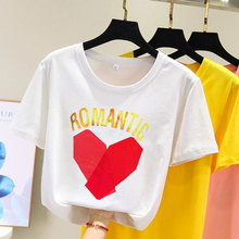 Kawaii Love Letter Cartoon Print Women Summer T Shirt 2019 Funny Korean Style harajuku Vogue Short sleeve funny basic Clothes