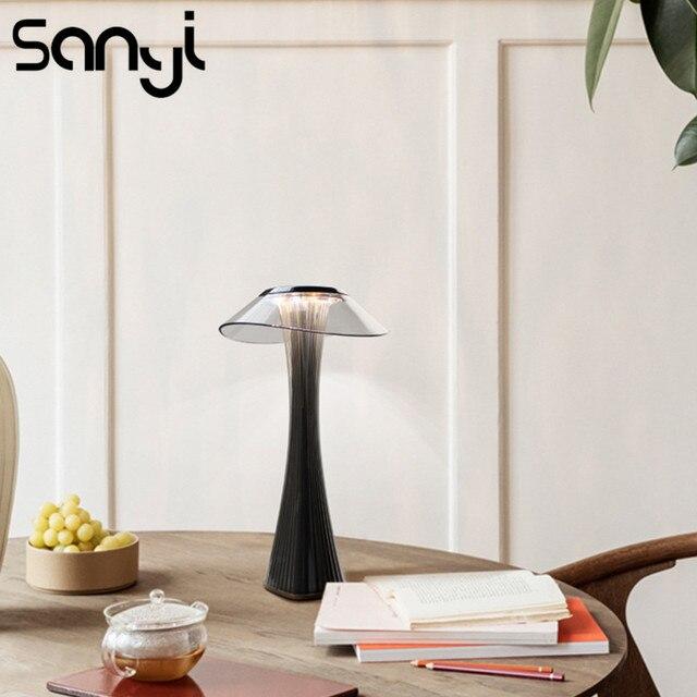 Светодиодная настольная лампа, удобный и мягкий светильник для спальни/офиса, Настольный светильник со встроенной USB зарядкой и аккумулятором, 3 режима