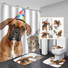 Funny Shower Curtains Bath Curtain Home Decor Waterproof Shower Curtains Cat Dog 3d Bathroom Curtain or Mat red beach shower curtain in bathroom waterproof bath curtains 3d coconut palm seascape douchegordijn landschap nordic