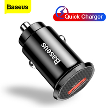 Baseus Mini USB Car Charger Quick Charge 3.0 Car Phone Charger QC3.0 QC Fast Charging For iPhone Samsung S20 Xiaomi Mobile Phone
