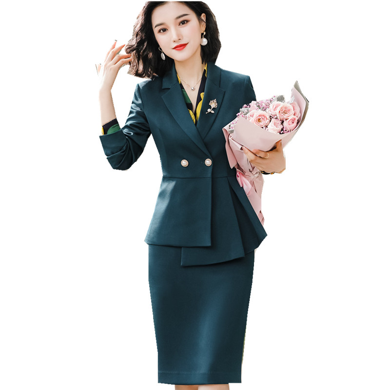 Women's Synthetic Fabric Suit Green Skirt Suit Set  2019 High Quality Elegnant Two Piece Suit Irregular Jacket Skirt Suit 801356