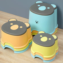 Cartoon Cute Three-Size Plastic Stool Children'S Baby Low Stool Small Bench Household Thickened Non-Slip Step Stool Foot Stool