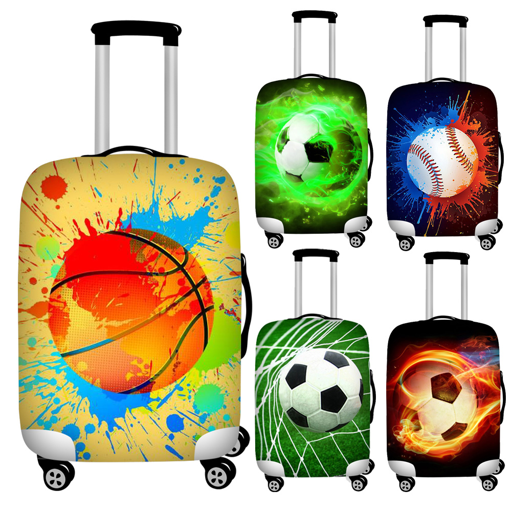 Twoheartsgirl Colorful Soccers Print Travel Suitcase Covers Elastic 18-32inch Protective Dust Luggage Covers Ziper Baggage Cover