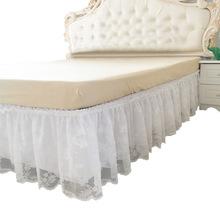 Koronkowe na łóżko spódnica elastyczna narzuta narzuta na łóżko bez powierzchni falowana spódnica na łóżko dekoracja w kwiaty spódnica na łóżko na wesele tanie tanio RUIYUN087 Other Gładkie barwione Domu Hotel 400g Floral 100 poliester