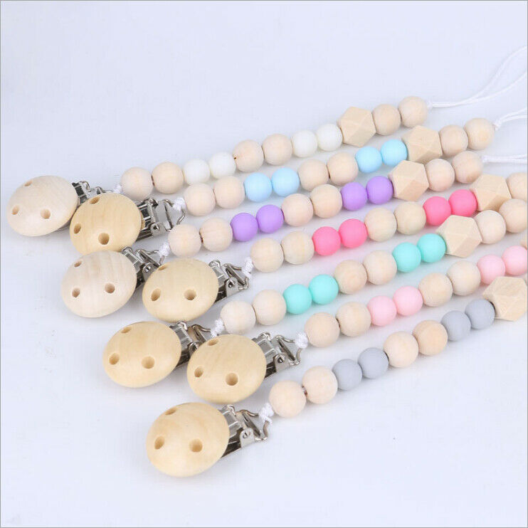 1pc Dummy Clip Pacifier Chain Baby Soother Wood Crochet Wooden Toy Non-toxic