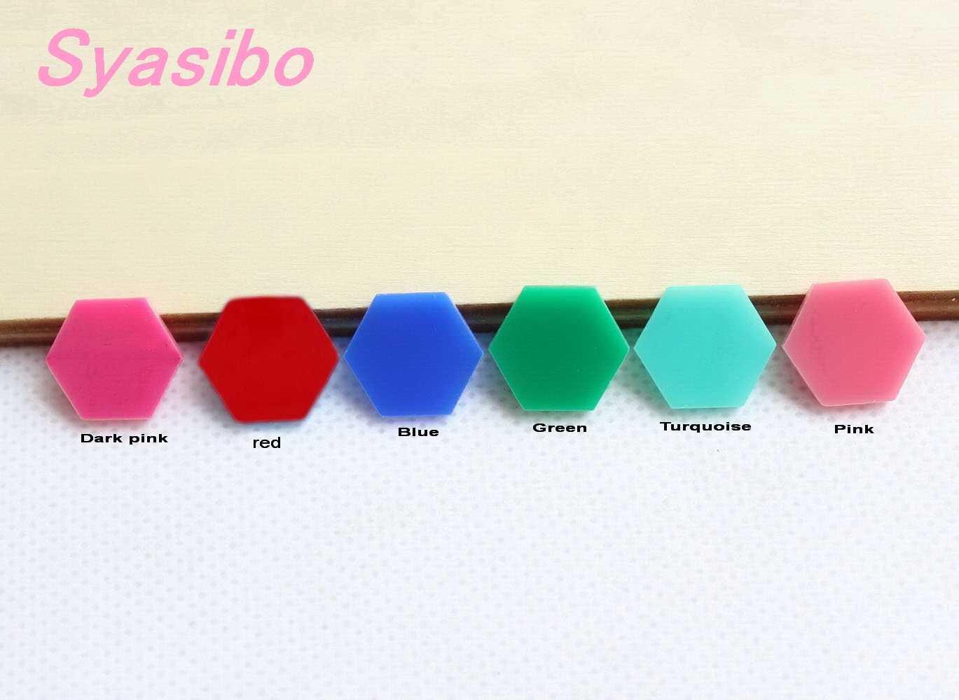 """Cuentas acrílicas hexagonales variadas de 10mm/12mm/16mm para pendientes de color rosa oscuro, Aqua, azul, verde, turquesa, Rosa 0,6 """"-AC1023A"""