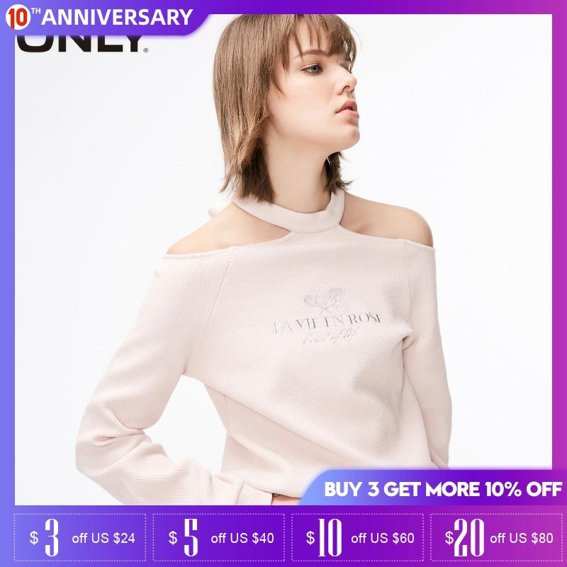 ONLY Women Spring Letter Printed Truffle Shoulder Tie Long Sleeve Pullover | 11919S570