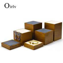 Oirlv 3 pcs Solid Wood Jewelry Display Stand Set  with Microfiber Ring Earring Bracelet Bangle Holder Jewelry Organizer