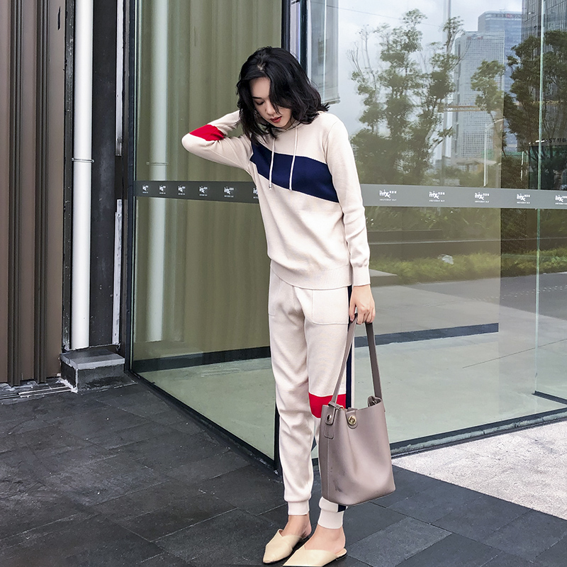 Autumn Spring Knitted Tracksuit Hooded Sweatshirts Women Suit Clothing 2 Piece Set Knit Pant Female Pants Suit