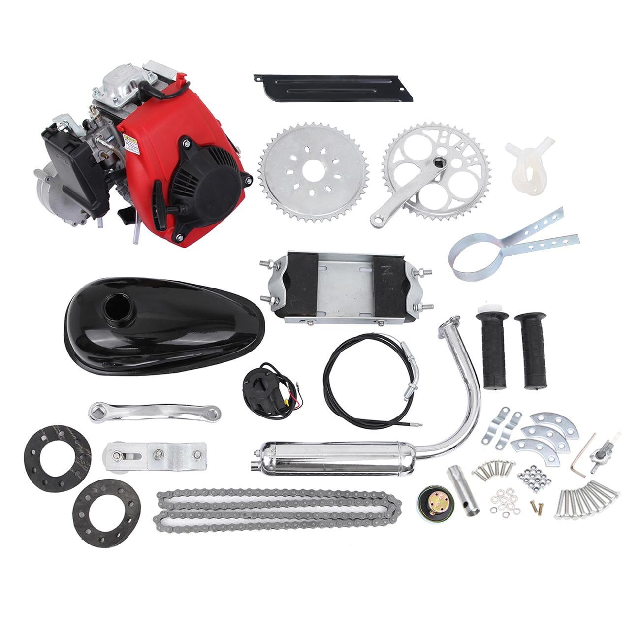 49CC Motorized Bicycle Kit Bike Engine Kit Single Cylinder 4-Stroke Gas Petrol Motorized Bike Engine Scooter Belt Gear