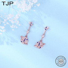 TJP S925 Sterling Silver Trinket Superior Sense of Small Design Planet Earrings