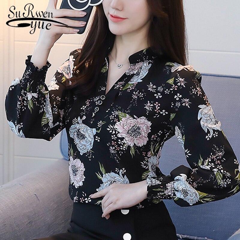 2019 Fashion V-neck Women Blouse Shirt Long Sleeve Printing Women's Clothing Plus Size OL Blouse Feminine Tops Blusas D556 30