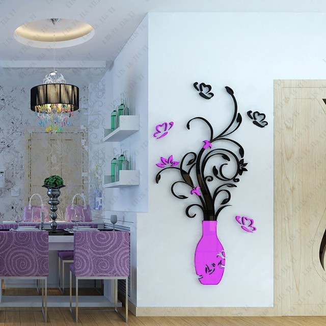 3D Home Decals Decor DIY Fashion 3D Vase Flower Tree Crystal Arcylic Wall Stickers Decal Home Room Indoor Decor Wall Stickers 6