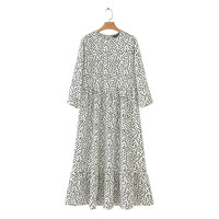 Vadim women dots print maxi dress pleated three quarter sleeve female casual straight dresses chic ankle length vestidos