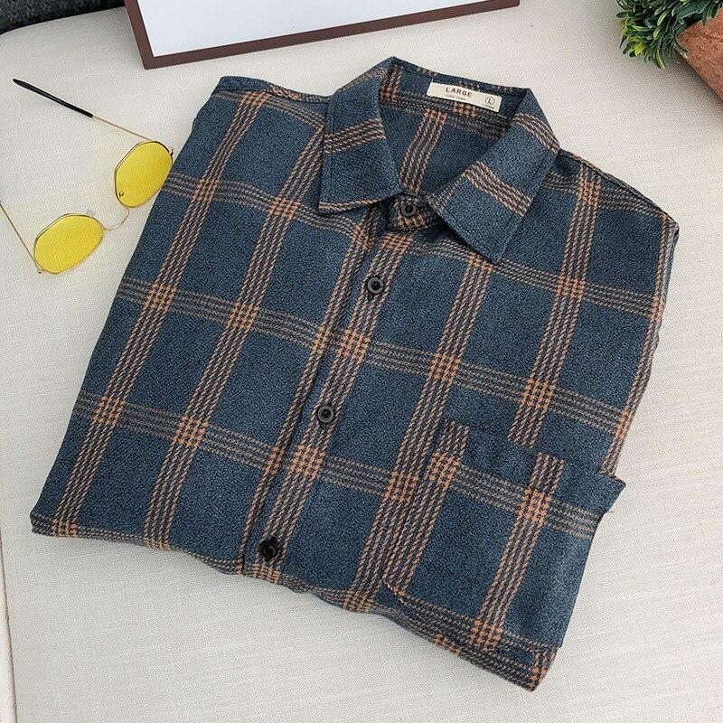 Весна новое поступление мужская рубашка в клетку Мужская Повседневная рубашка с длинными рукавами, высокое качество, Мужская одежда для ма...