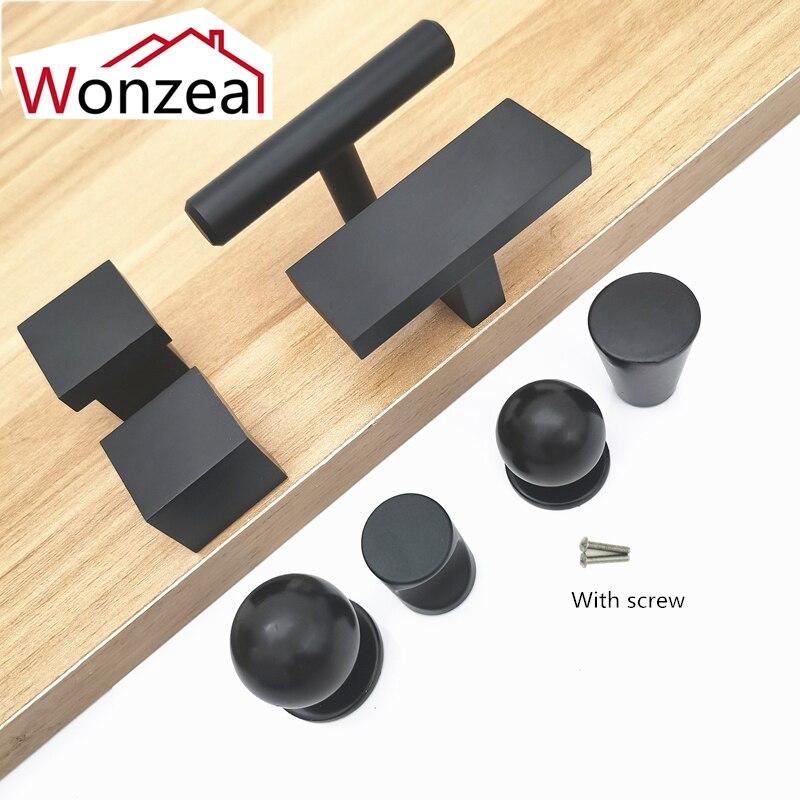 Aluminum Modern Black Cabinet Handle Furniture Hardware Kitchen Door Single Knobs Cupboard Wardrobe Drawer Pulls