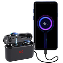 Q32 TWS Wireless Earphones LED Power Bank Function in ear 5.0 Bluetooth Earpiece Handsfree Phone Earbuds with Charge Box