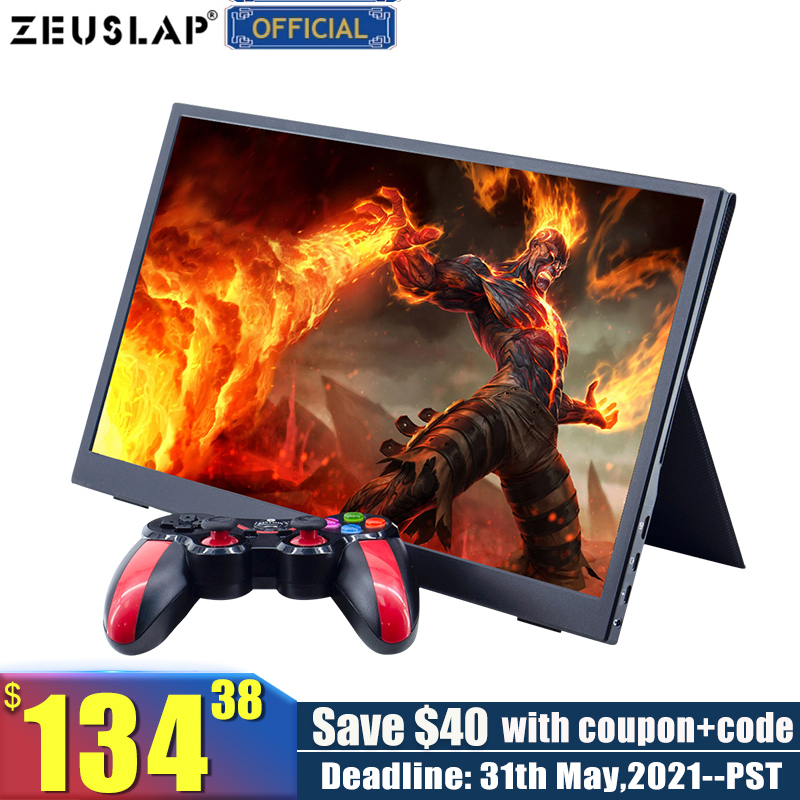 ZEUSLAP 15.6inch USB C HDMI-Compatible 1920*1080P PD HDR Monitor with Earphone port Ultrathin Portable Screen Gaming Monitor 1