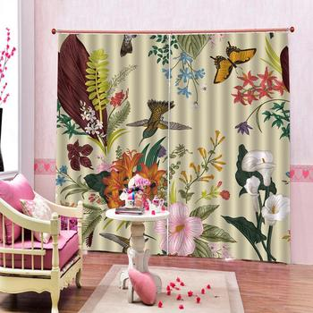 Customized size Luxury Blackout 3D Window Curtains For Living Room flower and bird curtains