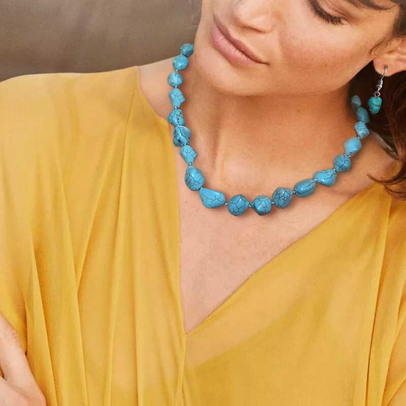 Yumfeel nouveau Bracelet Turquoise ensemble de bijoux Vintage argent plaqué collier Bracelet boucle d'oreille anneau bijoux ensembles femmes