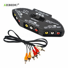 KEBIDU 3-Way Audio Video AV RCA Splitter Black Switch Selector Box Splitter with/3 RCA Cable for STB TV DVD Player for XBOX PS2(China)