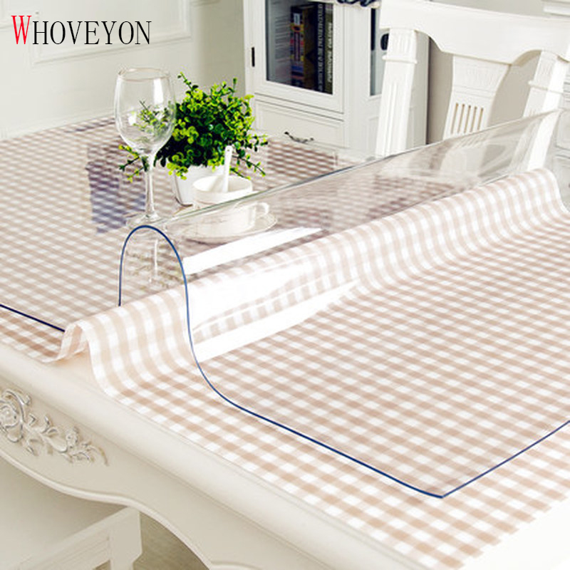 PVC Waterproof Tablecloth Table Cloth Transparent Tablecloth Kitchen Pattern Oil Cloth Glass Soft Cloth Table Cover Mat 1.0m