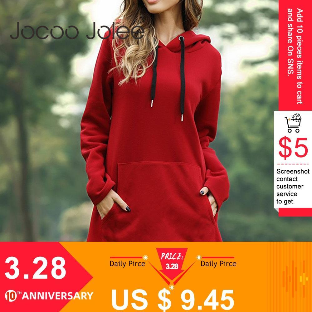 Jocoo Jolee Women Spring Solid Hoodies Casual Long Style Sweatshirt Casual Pocket Oversized Hoodie Kpop Hoody Dress Pullover