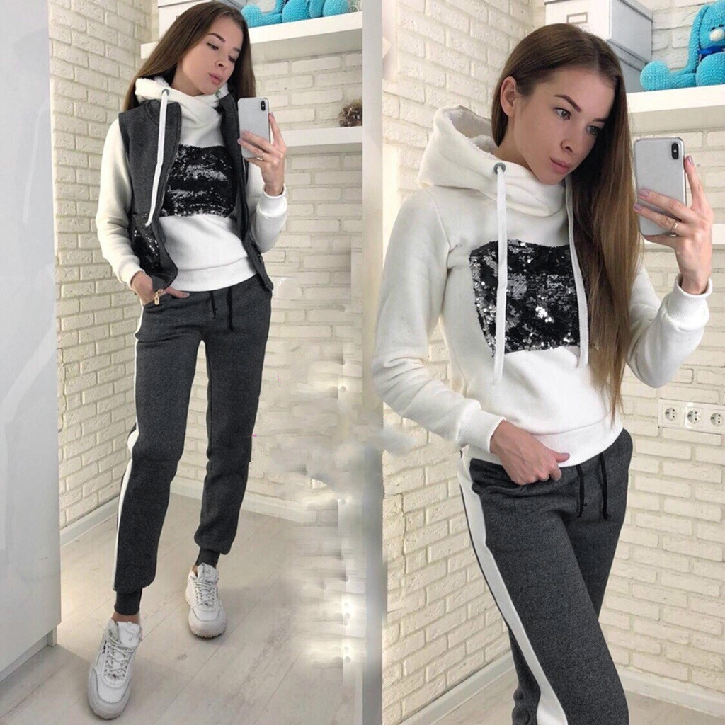 Autumn Winter Sport Leisure Three Piece Suit Zipper Hooded Tops Pants Vest Tracksuit Women Jogging Ropa Mujer Conjunto Feminino