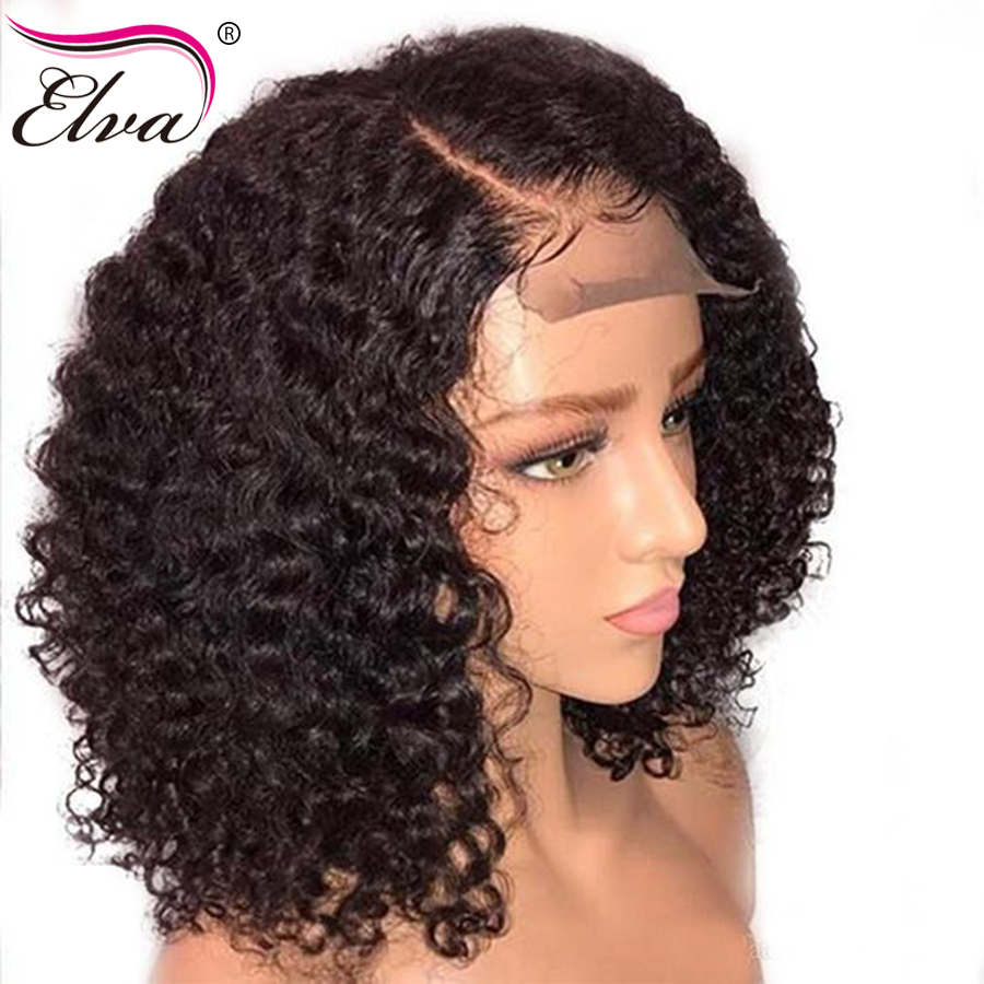 Short Human Hair Bob Wigs For Black Women Pre Plucked With Bleached Knots Elva Hair Curly 13x6 Lace Front Human Hair Wigs Remy