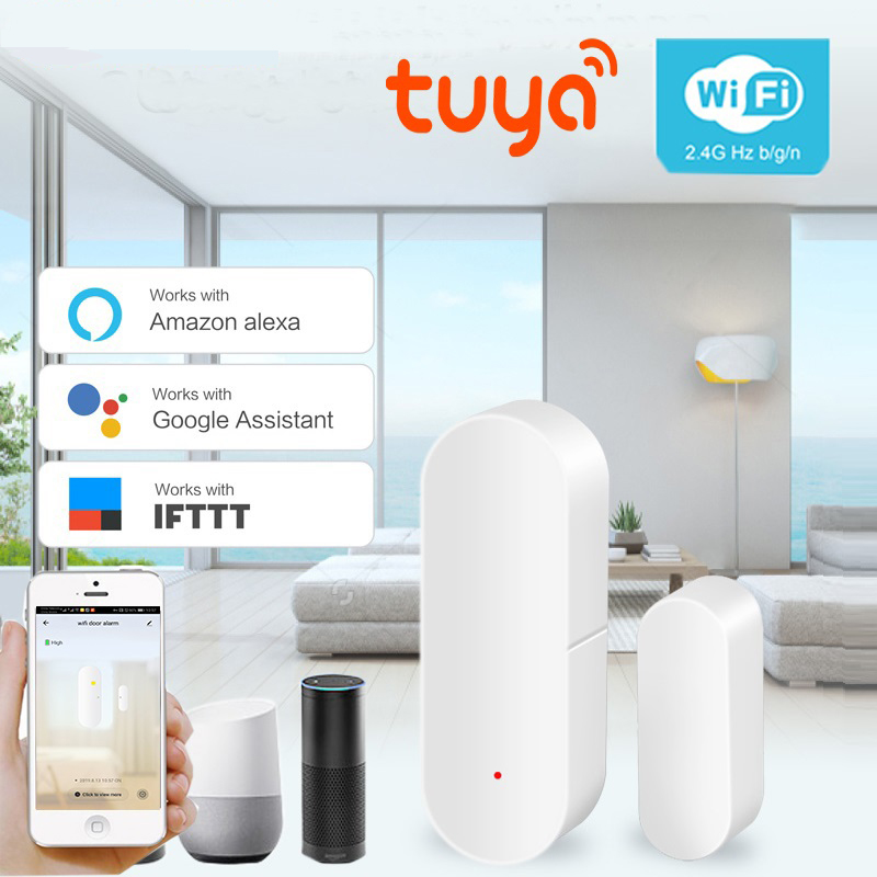 Tuya IFTTT APP Smart WIFI Door Sensor Home Security Alarm System Door Sensor Detector App Compatible Amazon Alexa Google Home