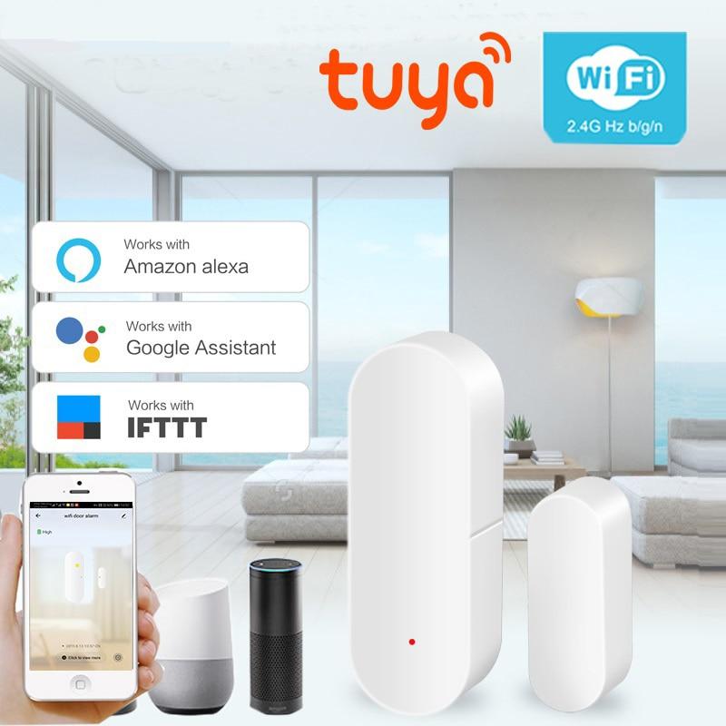 Tuya IFTTT APP Smart WIFI Door Sensor Home Security Alarm System Door Sensor Detector App Compatible Amazon Alexa Google Home