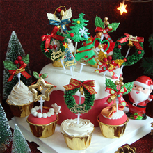 1PC Merry Christmas Cake Topper Christmas Tree Santa Claus Elk Deer Cupcake Topper For Christmas Party Cake Decorations Xmas omilut 18pcs merry christmas cupcake topper christmas christmas snowman gift sock biscuits birthday cake topper supplies