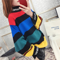 Winter Women Sweaters Design Fashion Turtleneck Loose Pullovers Korean Chic Knitted Jumpers Female Rainbow Stripes Crocheted Top