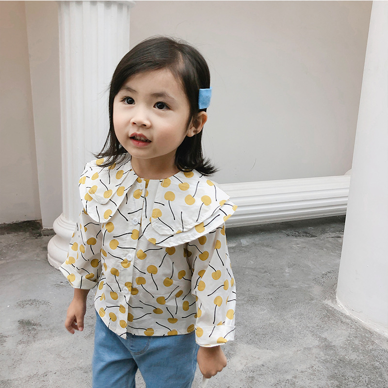 A Mu Hou Childrenswear 2019 South Korea Spring New Products Children Casual Shirt Girls Double Layer Doll Collar Shirt