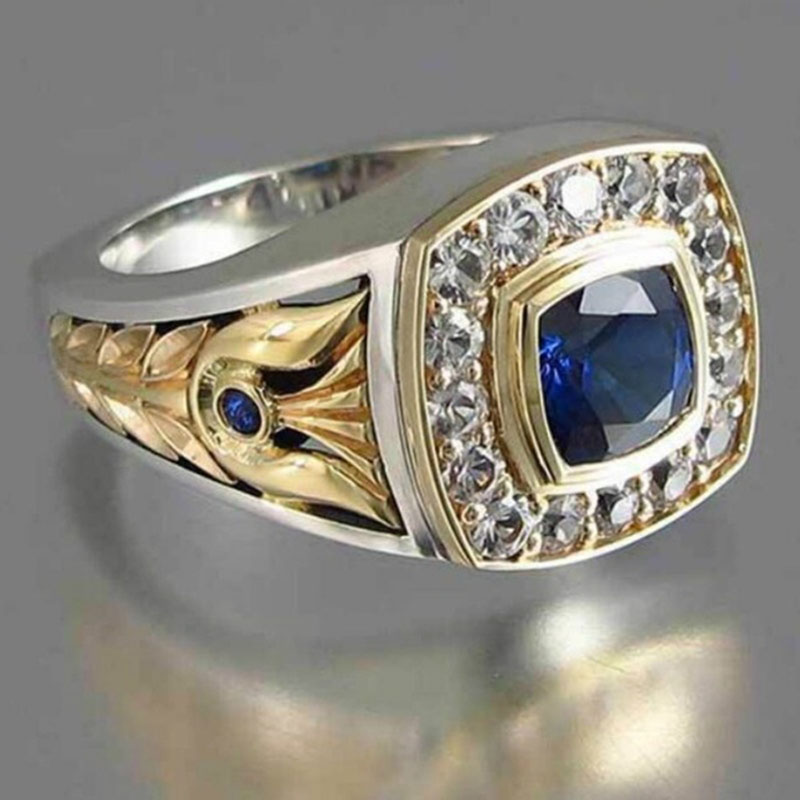 Vintage Silver Gold Mixed Color Two Tone Finger Rings For Business Men Luxury Square Dark Blue Zircon Stone Wedding Rings Z3P466 Сумка