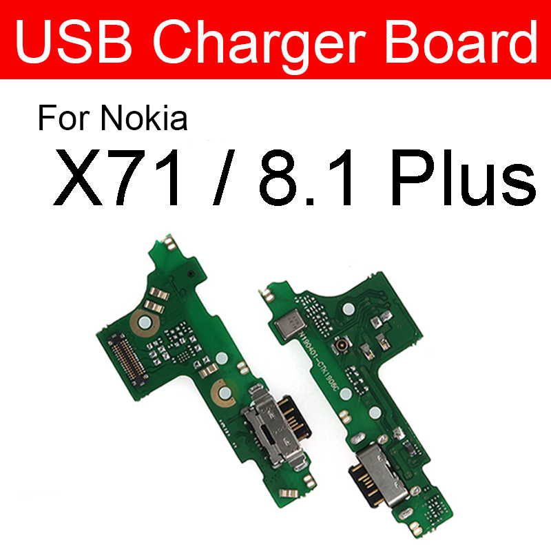 USB Charging Port Dock Socket Board For Nokia X71 / 8.1 Plus / 8.1+ Charger Jack Plug Connector Board Flex Cable Repair Parts