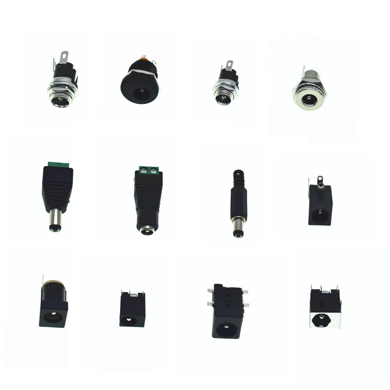 5PCS DC Power Connectors 5.1x5.5mm Female/Male Plug Jack Socket Adapter PCB Mount DIY Adapter Connector 2.1x5.5mm