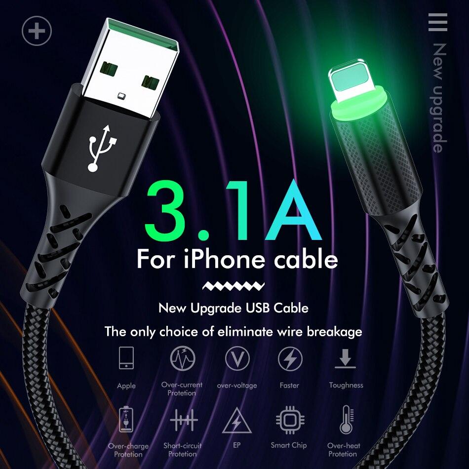 Светодиодный зарядный кабель ROCK для iPhone 11 Pro Max X XR XS 8 7 6 6s 5 5S iPad, кабель для быстрой зарядки и передачи данных для мобильных телефонов
