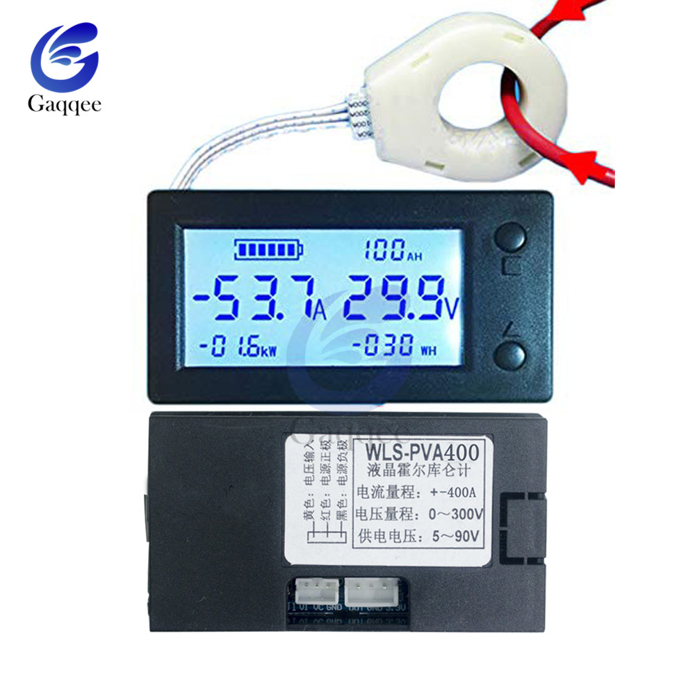 100A 200A 400A STN LCD Hall Coulomb Counter Meter Voltmeter Ammeter Voltage Auto Battery Monitor AMP Power Capacity Indicatotr