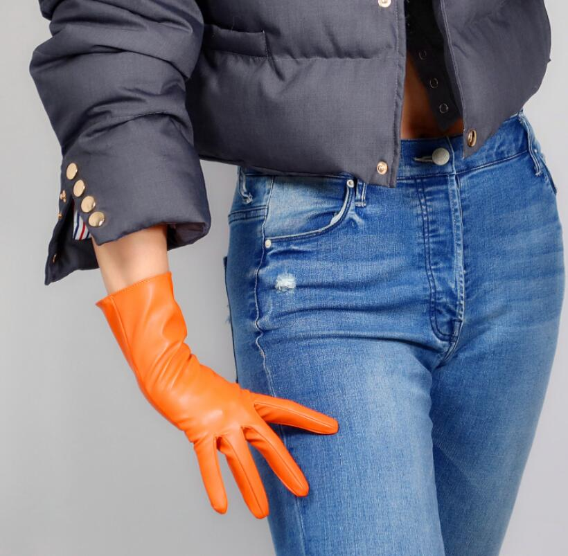 Women's Fashion Sexy Slim Faux Pu Leather Glove Lady's Club Performance Formal Party Leather Long Orange Color Glove 28cm R2570