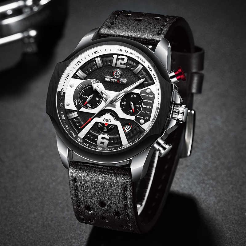 Hommes montres haut marque de luxe bleu Quartz hommes montre en cuir chronographe grand Sport montre-bracelet homme mâle horloge Relogio Masculino