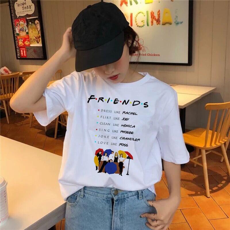 The Friends tv show Women t shirt Vogue Harajuku 90s Friends letter style Print Short Sleeve Casual korean Streetwear Tops Tees