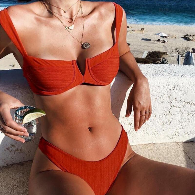 Sexy Solid Bikini Two Piece 2019 New High Leg Push Up Swimming Suits For Women Split Sweamwear Underwire Women Swimsuit