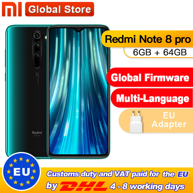Global ROM Xiaomi Redmi Note 8 Pro 6GB 64GB Smartphone 64MP Quad Camera Helio G90T Octa Core 4500mAh NFC
