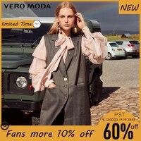 Vero Moda winter long double Pockets Mid length Plaid Waistcoat |318334501