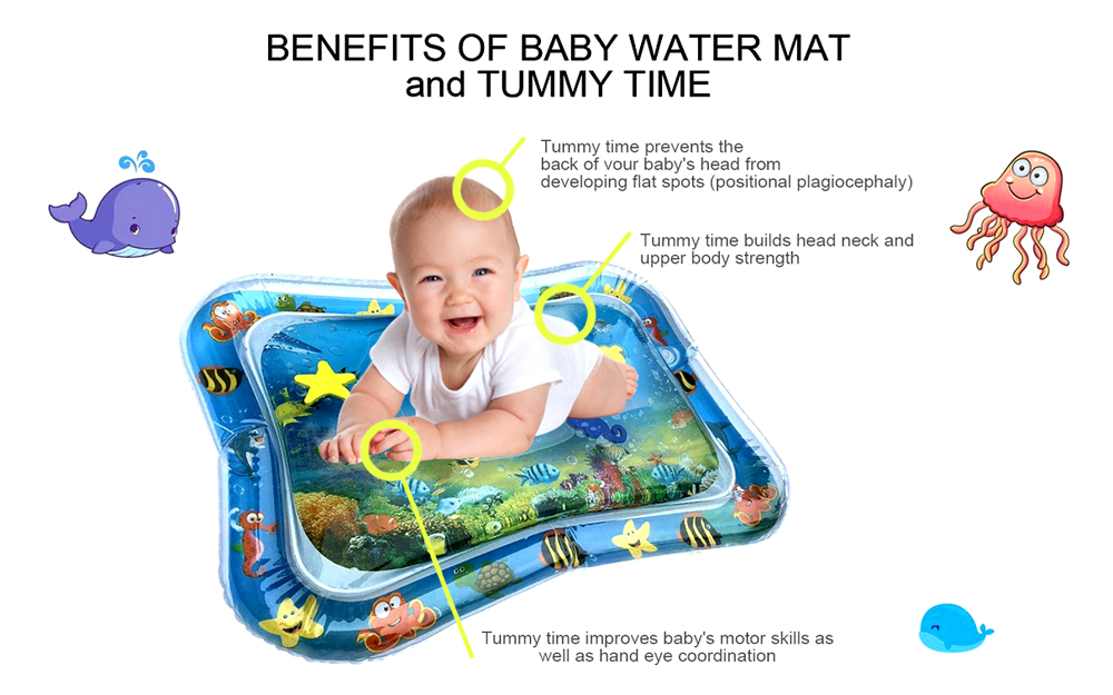 H75b0cefc97484d2dbe81e21afe5f6b1dd 36 Designs Baby Kids Water Play Mat Inflatable PVC Infant Tummy Time Playmat Toddler Water Pad For Baby Fun Activity Play Center