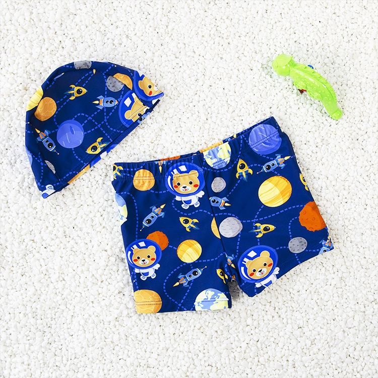 CHILDREN'S Swimming Trunks Cute Cartoon Pattern Boys' Swimming Trunks Baby Swimming Trunks Swimsuit Children-with Cap