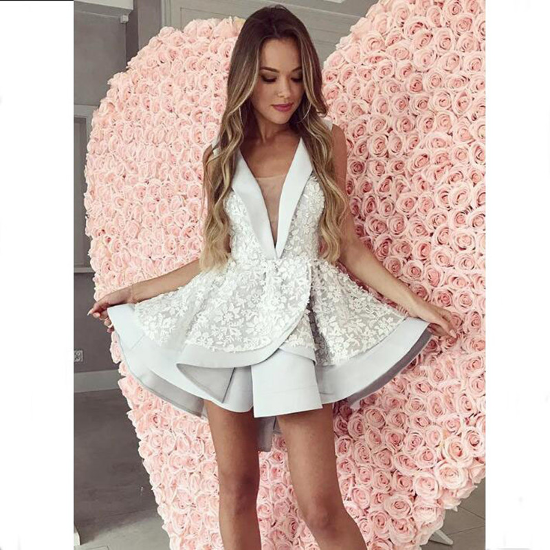 3D Floral Cocktail Dresses Illusion V Neck Tiered Appliqued Above Knee Party Gowns Prom Dress Short Hi Low Tiered