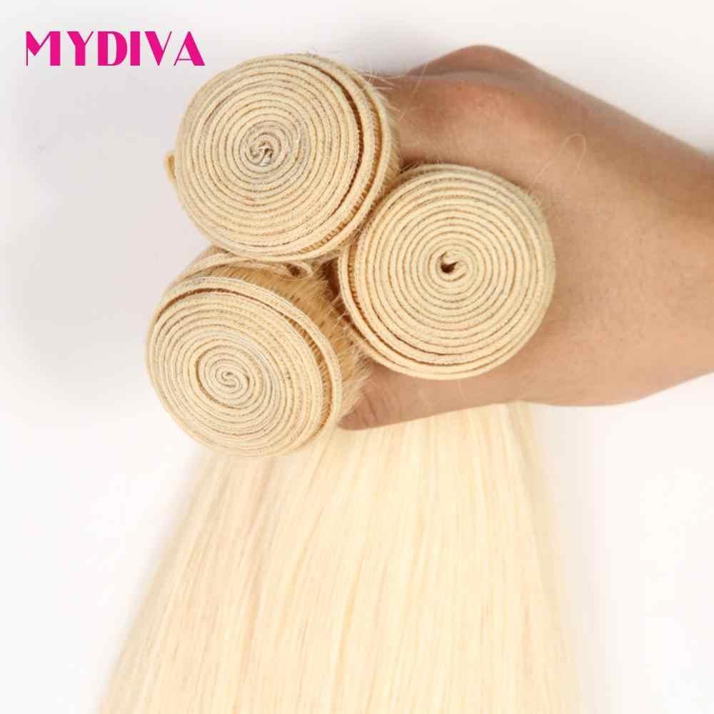 613 Rambut Pirang Bundel Brasil Rambut Menenun 100% Madu Pirang Lurus Ekstensi Rambut Manusia 30 32 Inch Remy Rambut mydiva